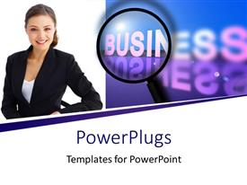 PowerPlugs: PowerPoint template with a professional with the word business in the background