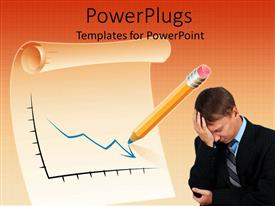 PowerPlugs: PowerPoint template with a professional worried due to the recession