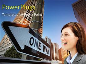 PowerPlugs: PowerPoint template with a professionals with a sign and buildings in background