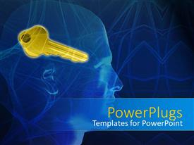 PowerPoint template displaying profile of man's head with gold key