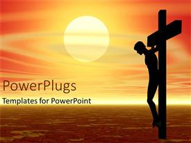PowerPoint template displaying profile silhouette of figure on cross at sunset