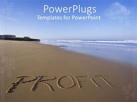 PowerPoint template displaying a profit on the beach with the sea in the background
