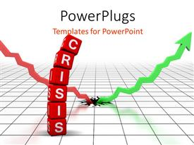 PowerPoint template displaying profit after terrible financial crisis with green arrow breaking out of surface