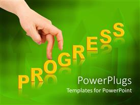 PowerPoint template displaying progress diagram metaphor with fingers, green up arrow background