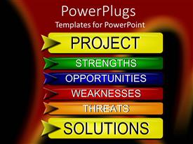 PowerPlugs: PowerPoint template with project Solutions with SWOT analysis buttons