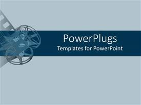 PowerPoint template displaying projector reels and film in soft blue and dark blue backgrounds