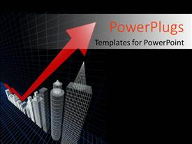 PowerPoint template displaying property valuation chart arrow pointing up to the tallest building with black color