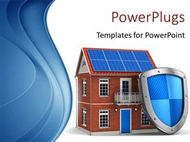 PowerPoint template displaying protective shield leaning against residential house depicting real estate insurance