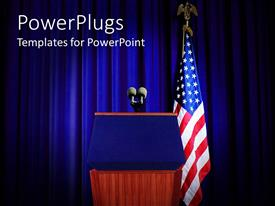 PowerPlugs: PowerPoint template with pulpit set for press conference with blue curtain background