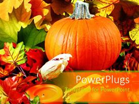 PowerPlugs: PowerPoint template with pumpkin, autumn leaves, and orange votive candle