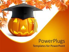 PowerPlugs: PowerPoint template with pumpkin Halloween graduation cap on a white and yellow background