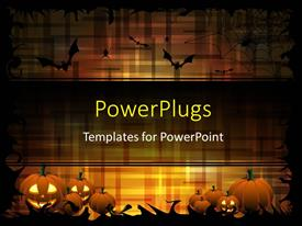 PowerPlugs: PowerPoint template with pumpkins and bats on the dark-orange color