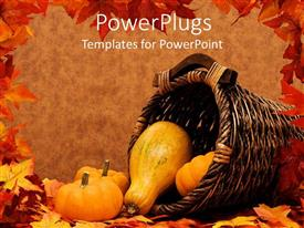 PowerPlugs: PowerPoint template with pumpkins and gourds falling out a basket on brown background with frame of autumn leaves, fall harvest scenery