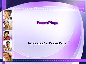 PowerPlugs: PowerPoint template with purple abstract background with business women, customer service
