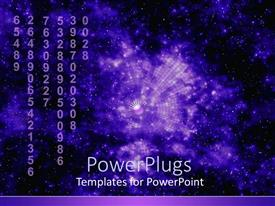 PowerPlugs: PowerPoint template with purple abstraction of night sky behind strings of numbers