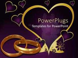 PowerPlugs: PowerPoint template with purple background with love symbols gold rings, and two lovers