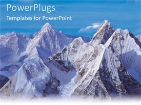 PowerPlugs: PowerPoint template with purple and blue mountain ranges skyline birds eye view