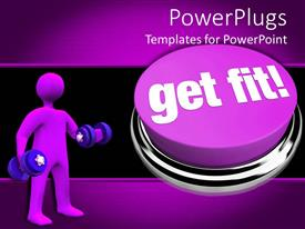 PowerPlugs: PowerPoint template with purple get fit button with purple human holding dumbbell weights, exercise, fitness