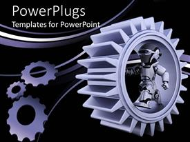 PowerPoint template displaying purple gear mechanism with robot and bended lines on black background