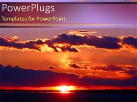 PowerPlugs: PowerPoint template with purple sunset vacation hawaii island nature beauty on a purple background