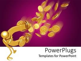 PowerPoint template displaying purple and white background with man attracting gold coin with magnet