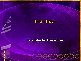 PowerPlugs: PowerPoint template with purple world globe graphics dark background