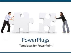 PowerPlugs: PowerPoint template with putting pieces together as a metaphor puzzle business conflicts problems solutions