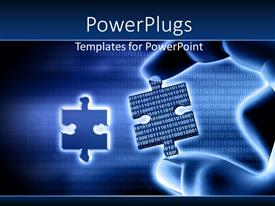 PowerPoint template displaying putting the right piece of information from virtual data exchange with binary codes