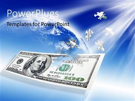 PowerPoint template displaying puzzle 100 dollar banknote with blue earth