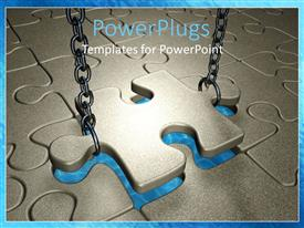 PowerPoint template displaying puzzle piece being lowered into jigsaw puzzle by metal chains