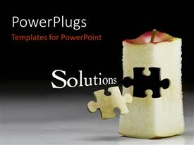PowerPlugs: PowerPoint template with puzzle piece carved out of red apple on grey floor