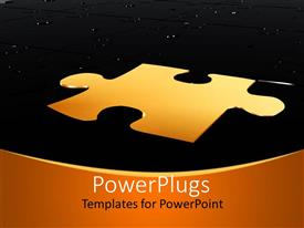 PowerPlugs: PowerPoint template with a puzzle piece in golden color with a number of black puzzle pieces
