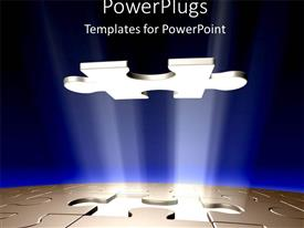 PowerPlugs: PowerPoint template with puzzle piece missing blue background problem solution key to success