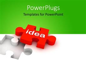 PowerPoint template displaying a puzzle piece with the title of idea and greenish background