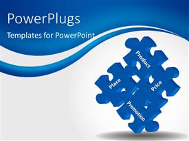 PowerPoint template displaying puzzle pieces with keywords such as product, price, place and promotion depicting 4P marketing management model