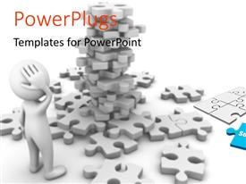 PowerPlugs: PowerPoint template with a number of puzzle pieces with a confused person