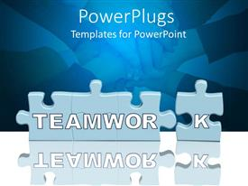 PowerPlugs: PowerPoint template with puzzle pieces with Teamwork in front of pile of hands