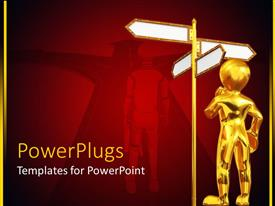 PowerPlugs: PowerPoint template with puzzled gold figure standing next to blank street signs