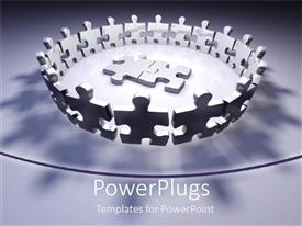 PowerPlugs: PowerPoint template with puzzles pieces circle metaphor white and black problem and solution