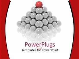 PowerPlugs: PowerPoint template with pyramid made of glowing gray spheres and red sphere on top of pyramid on reflective surface