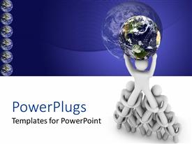 PowerPlugs: PowerPoint template with pyramid of white figures supporting planet earth