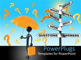 PowerPoint template displaying q and A metaphor with sign post with who what where when why how , man with umbrella and brief case, question marks