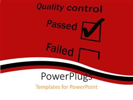 PowerPlugs: PowerPoint template with quality control tick box with passed ticked and dark red