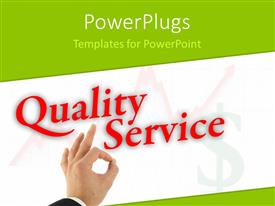 PowerPlugs: PowerPoint template with quality service with hand okay sign with dollar symbol and growth graph