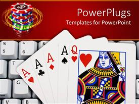 PowerPoint template displaying queen of hearts and four aces lying on computer keyboard in front of stack of casino chips, online gambling
