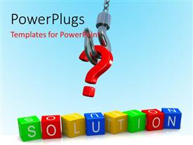 PowerPlugs: PowerPoint template with a question mark being lifted with a number of boxes
