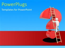 PowerPlugs: PowerPoint template with a question mark with bluish background and a ladder