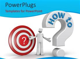 PowerPlugs: PowerPoint template with a question mark with a dartboard and white background