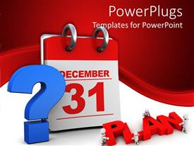 PowerPlugs: PowerPoint template with question mark about plans for last day of the year with calendar