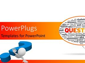 PowerPlugs: PowerPoint template with question sign falling over the human character, Speech bubble with the word questions